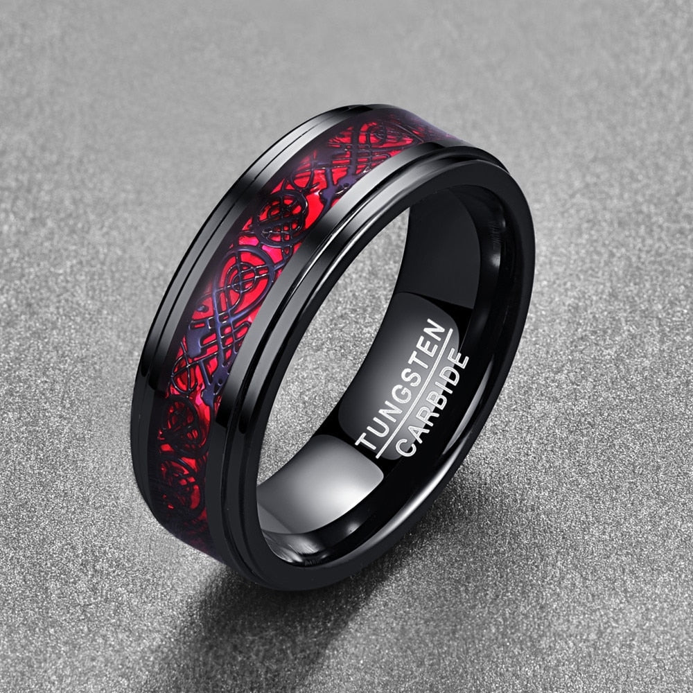 Electroplated Red Inlaid Tungsten Ring - Bonny Planet