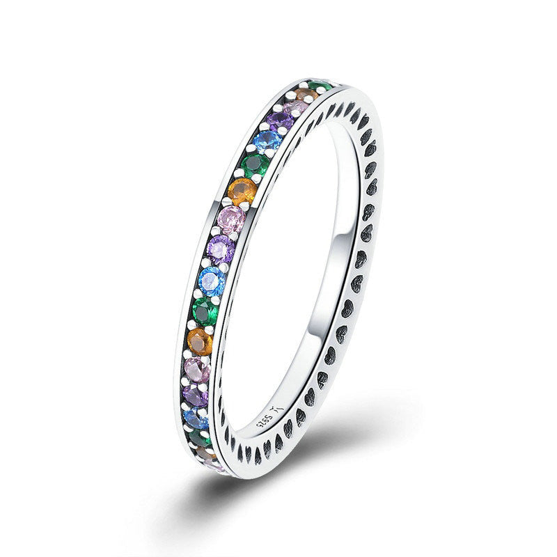Authentic Colorful Stone Silver Ring