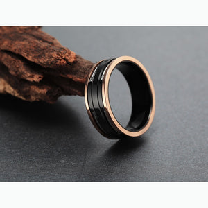 Stainless Steel Cables Design Titanium Carbide Ring - Bonny Planet