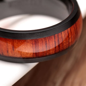 Wood Inlay Domed Titanium Ring Set - Bonny Planet