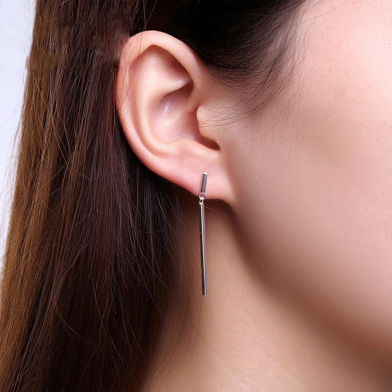 Minimalist Silver Drop Earrings - Bonny Planet