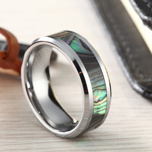 Green Abalone Inlay Tungsten Carbide Ring