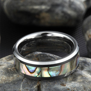 Green Abalone Inlay Tungsten Carbide Ring - Bonny Planet