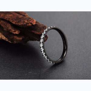 Crystal Paved Titanium Ring - Bonny Planet
