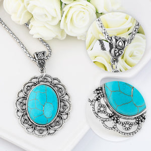 Floral Oval Pendant Necklace - Bonny Planet