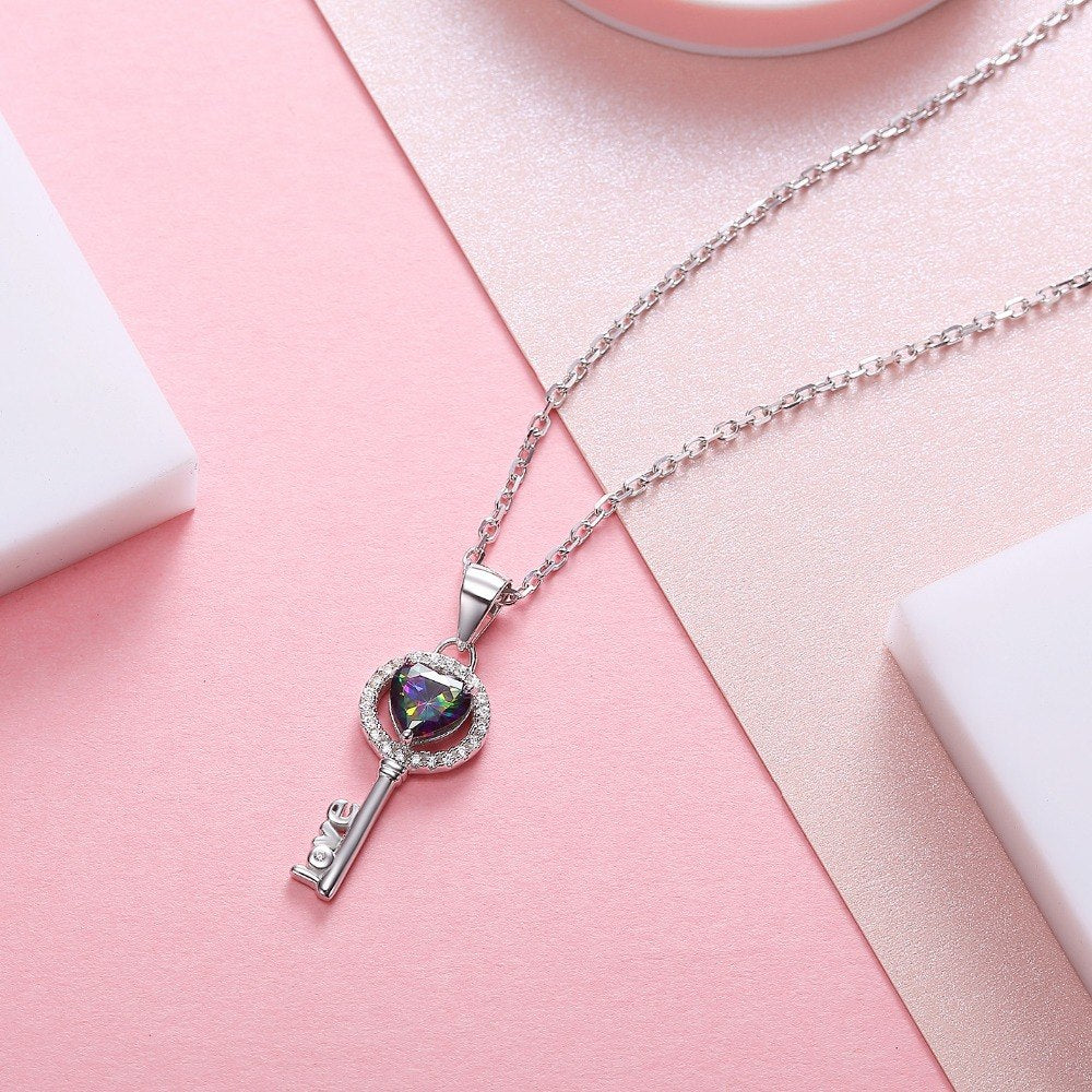 Luxury Key of Love Silver Necklace