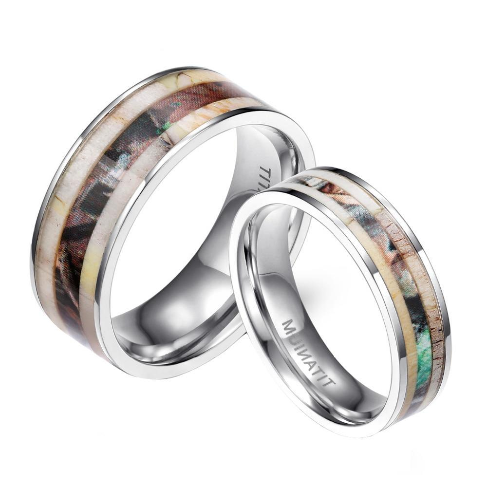 Antler Camouflage Inlay Titanium Ring