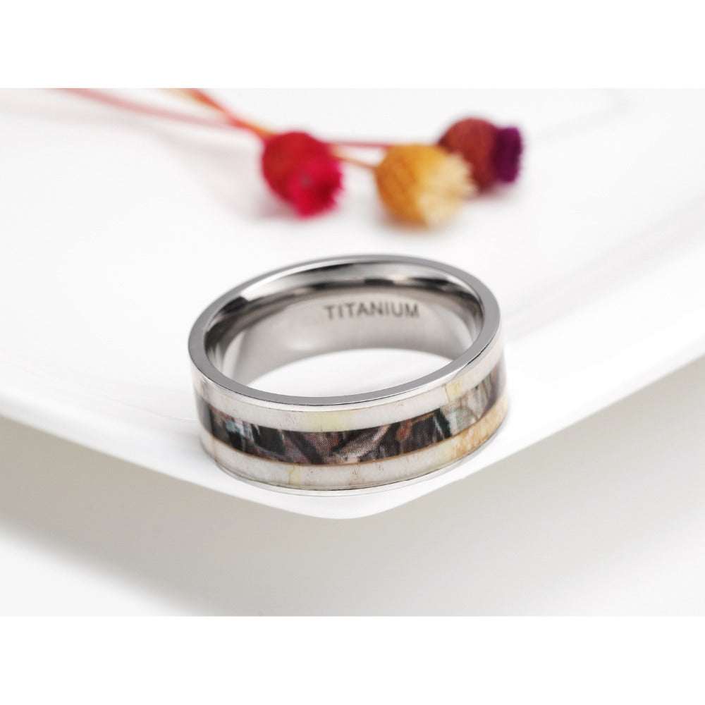 Antler Camouflage Inlay Titanium Ring - Bonny Planet