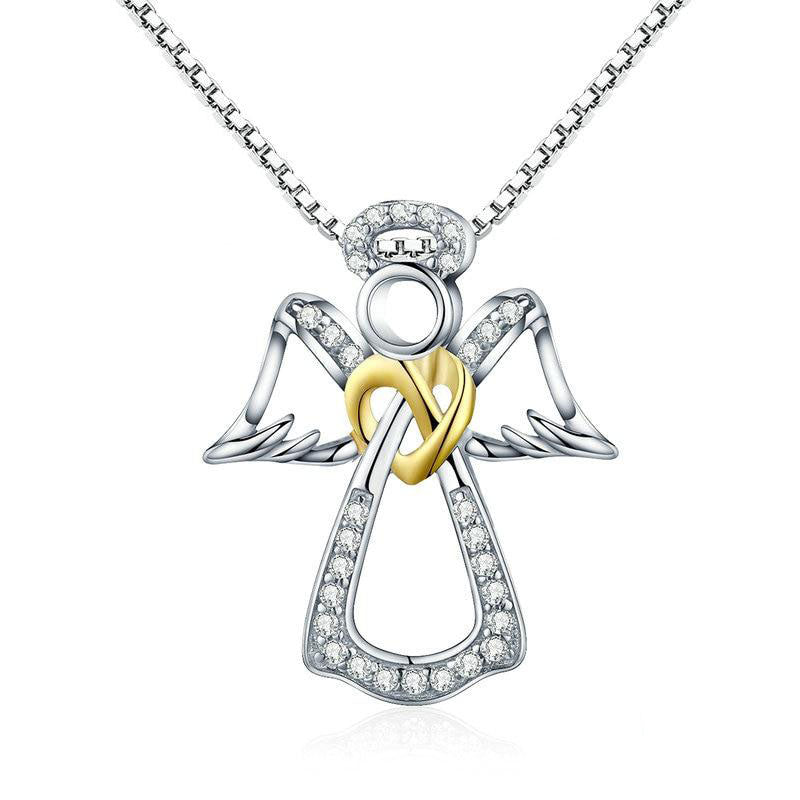 Guardian Angel Heart Pendant Necklace