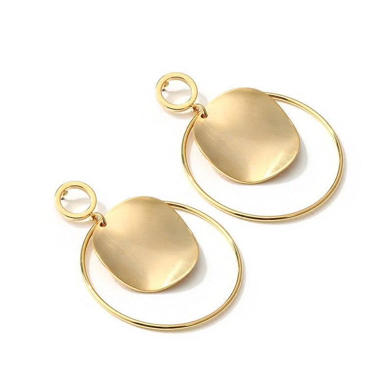 Gold Color Round Disc Earrings - Bonny Planet