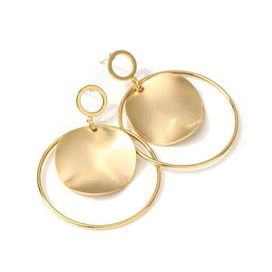 Gold Color Round Disc Earrings