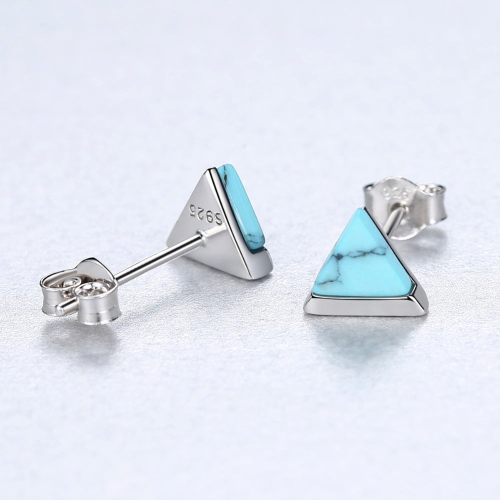Turquoise Triangle Silver Earrrings