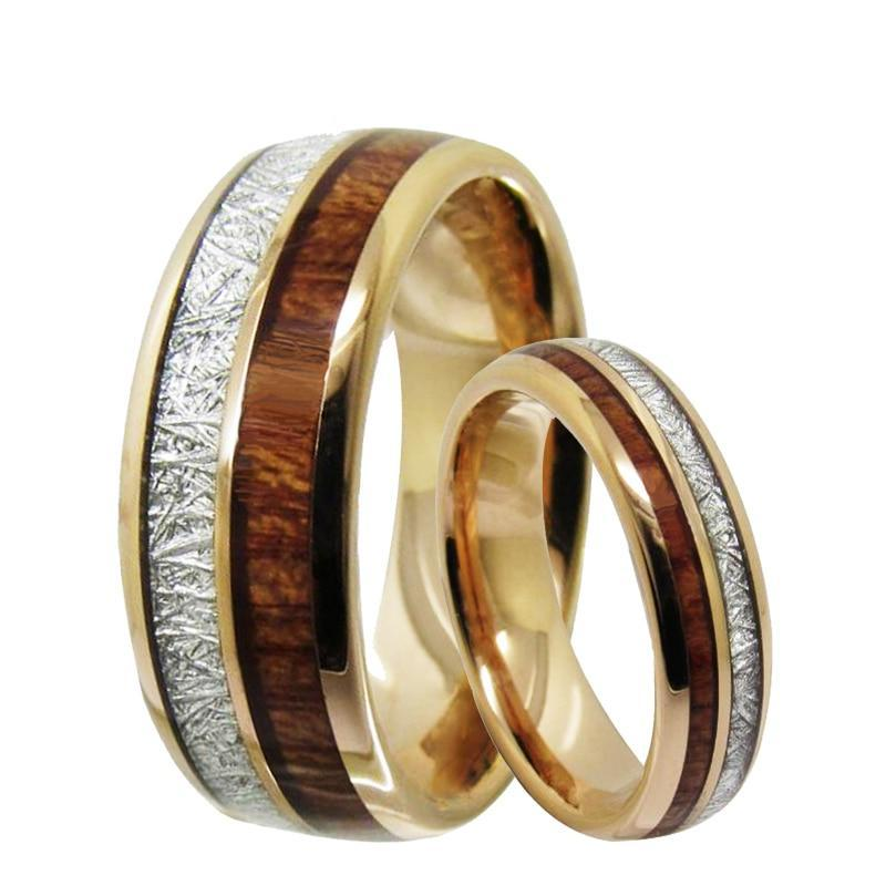 Meteorite Wood Inlay Tungsten Ring