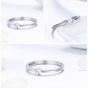 Simple Heart Crystal Silver Ring - Bonny Planet