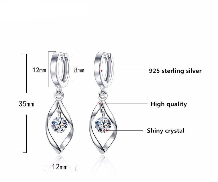 Shiny Crystal Silver Earrings - Bonny Planet