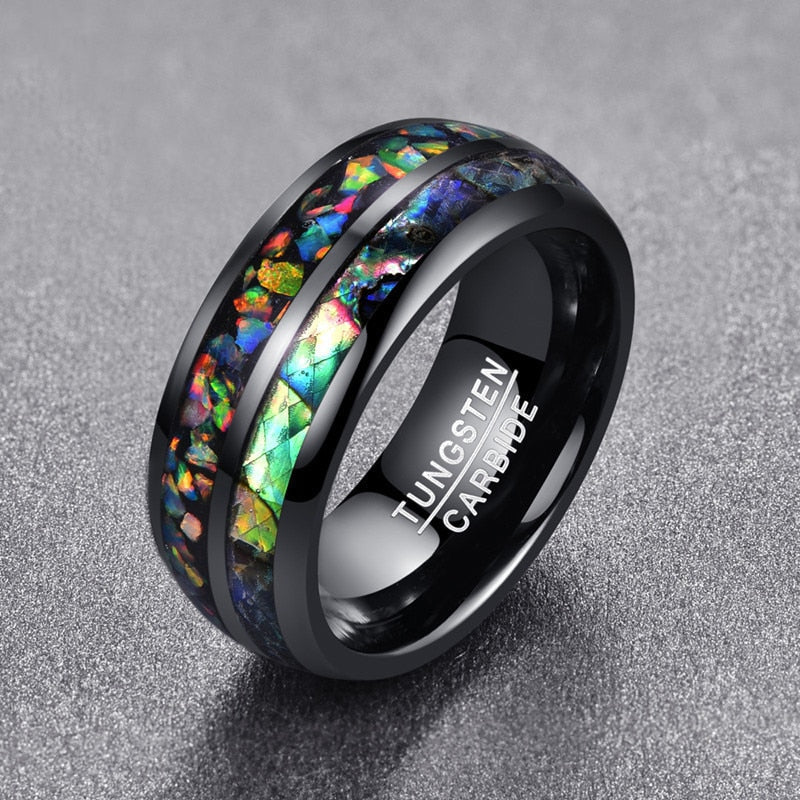 Abalone Shell Inlaid Tungsten Carbide Ring - Bonny Planet