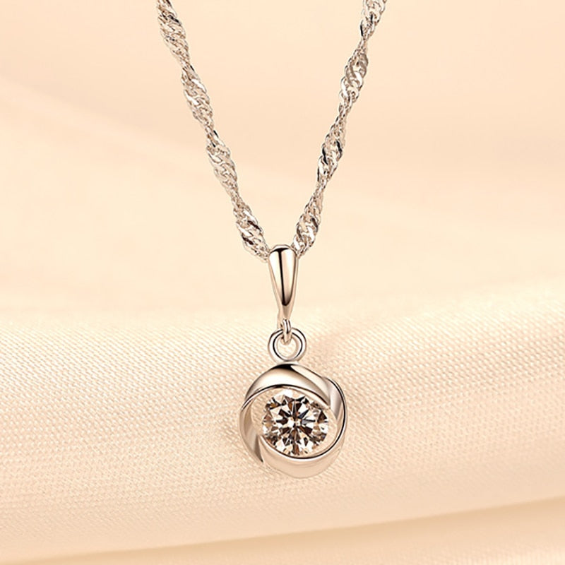 Simulated Crystal Pendant Silver Necklace - Bonny Planet
