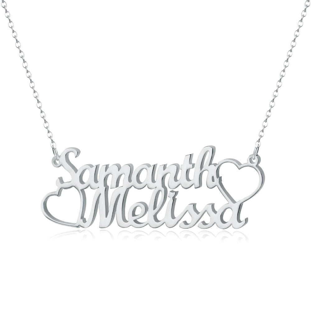 Personalized Couple Heart Necklace