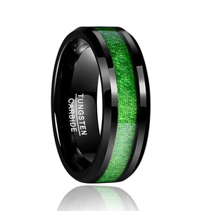 Green Inlay Tungsten Carbide Ring - Bonny Planet