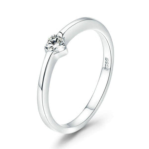 Simple Heart Crystal Silver Ring