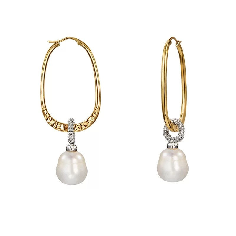 Pearl Crystal Dangle Earrings - Bonny Planet