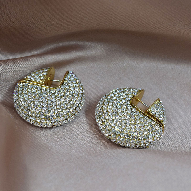 Full Crystal Gold Earrings