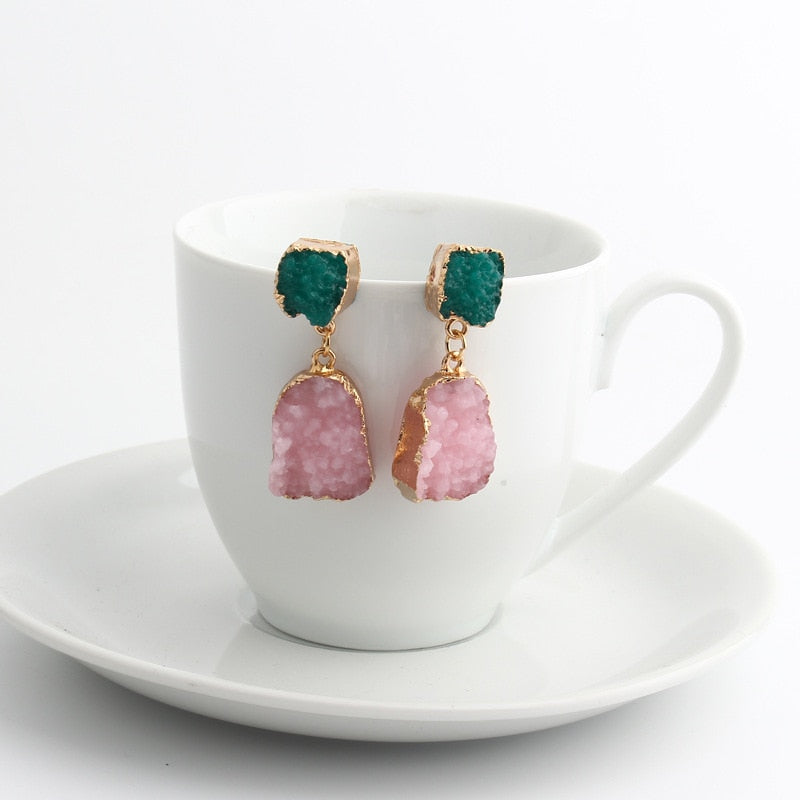 Irregular Druzy Drop Earrings - Bonny Planet