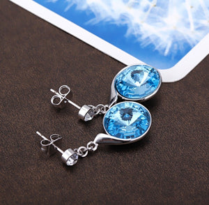 Ocean Blue Swarovski Crystal Earrings - Bonny Planet