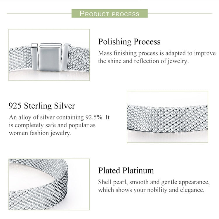 Authentic Mesh Silver Wrist Band Bracelet - Bonny Planet