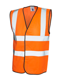 Uneek Hi Viz Sleeveless Safety Waist Coat Orange UC801