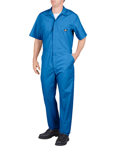 Dickies S/S Poplin Coverall: MENS COVERALLS - MEDIUM BLUE: 33999MB