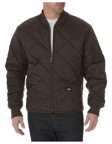 Dickies Diamond Quilted Nylon Jacket: MENS JACKETS - CHOCOLATE BROWN: 61242CB