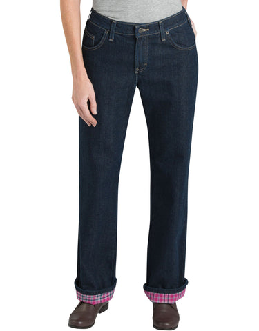 Dickies Womens Flannel Lined Jean: WOMENS JEANS - STONEWASHED VINTAGE BLUE: FD117SVB
