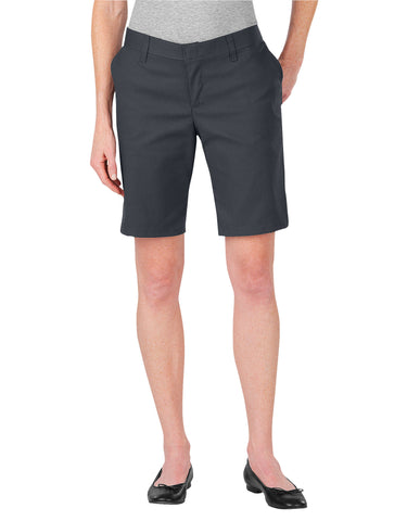 "Dickies Womens 9"" Flat Front Short: WOMENS SHORTS - DOW CHARCOAL: FR221DC"