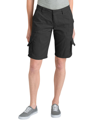"Dickies Womens 11"" Relaxed Fit Cotton Cargo Short: WOMENS SHORTS - RINSED BLACK: FR327RBK"