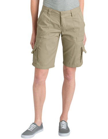 "Dickies Womens 11"" Relaxed Fit Cotton Cargo Short: WOMENS SHORTS - RINSED DESERT SAND: FR327RDS"