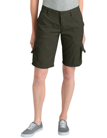 "Dickies Womens 11"" Relaxed Fit Cotton Cargo Short: WOMENS SHORTS - RINSED GRAPE LEAF: FR327RGE"