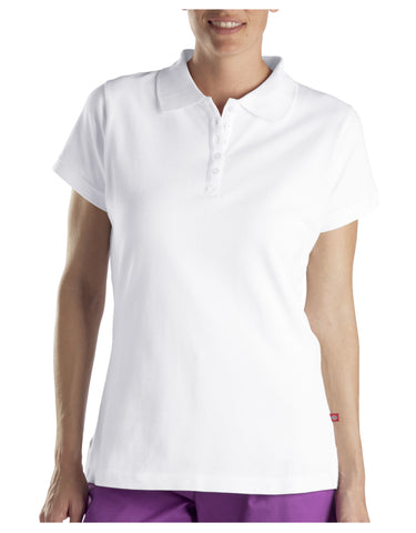Dickies Womens Solid Piqu&Eacute Polo: WOMENS TOPS - WHITE: FS023WH