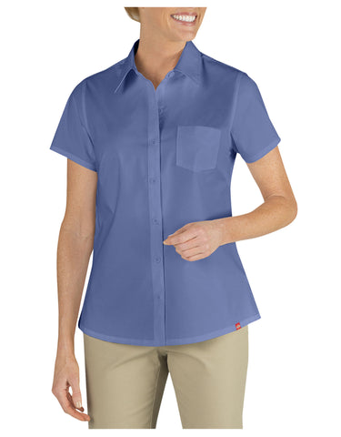 Dickies Womens Solid S/S Poplin Shirt: WOMENS TOPS - FRENCH BLUE: FS086FB