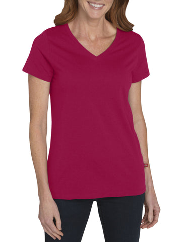 Dickies Womens S/S V-Neck T-Shirt: WOMENS TOPS - RED: FS096RD