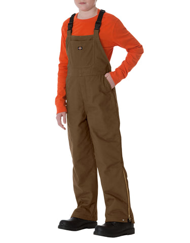 Dickies Sanded Duck Bib Overalls: BOYS BIB OVERALLS - TIMBER BROWN: KB101TB