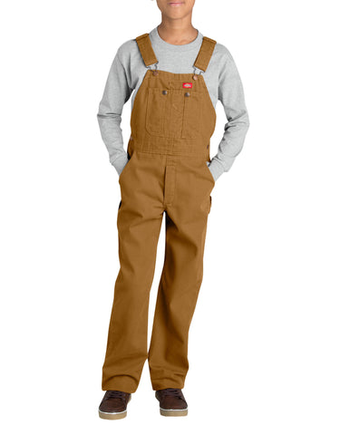 Dickies Boys Duck Bib Overall: BOYS BIB OVERALLS - RINSED BROWN DUCK: KB103RBD