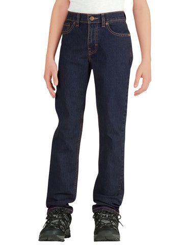 Dickies Boys 5-Pocket Denim Jean: BOYS JEANS - RINSED INDIGO BLUE WITH TINT: KD810RIT