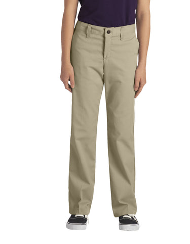 Dickies Girls Stretch Straight Leg Pant: GIRLS PANTS - DESERT SAND: KP5518DS