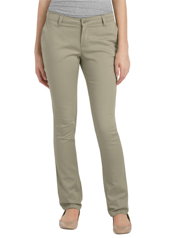 Dickies Girls Stretch Straight Leg Pant (Juniors): GIRLS PANTS - DESERT SAND: KP7718DS