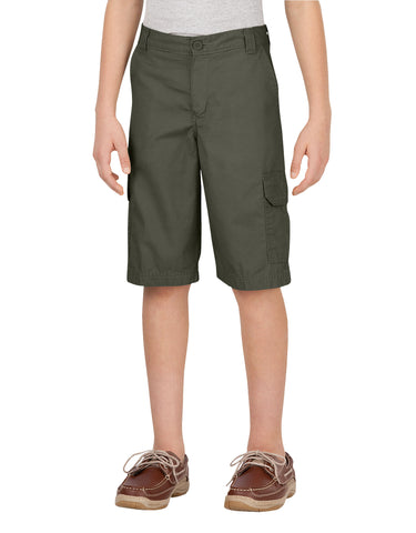 Dickies Boys Ripstop Cargo Short: BOYS SHORTS - RINSED MOSS GREEN: KR414RMS
