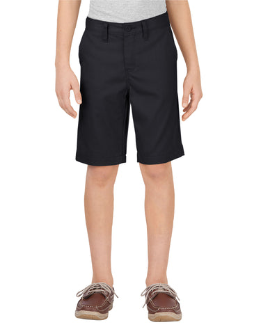 Dickies Boys Slim Fit Flat Front Short: BOYS SHORTS - BLACK: KR701BK