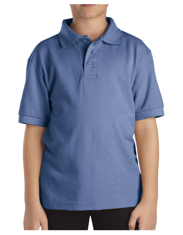 Dickies Youth Size S/S Pique Polo Shirt: BOYS SHIRTS - LIGHT BLUE: KS4552LB