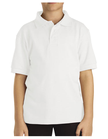 Dickies Youth Size S/S Pique Polo Shirt: BOYS SHIRTS - WHITE: KS4552WH