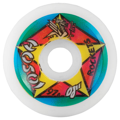 OJ Wheels Hosoi Rocket Re-Issue 61mm Reissue Hosoi 97a Skateboard Wheels - White